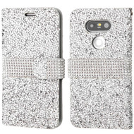 Round Brilliant Diamond Leather Wallet Case for LG G5 - Silver
