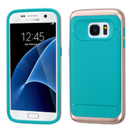 Bumper Frame Hybrid Case for Samsung Galaxy S7 - Rose Gold Teal