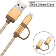 Mybat MFI 2-IN-1 Lightning and Micro USB Connector Charging & Sync Cable - Gold