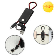 Portable Leather Micro USB Data Sync and Charging Cable with Key Chain - Black