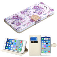 Art Design Portfolio Leather Wallet for iPhone 6 / 6S - Fresh Purple Flowers