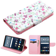 Executive Graphic Leather Wallet Case for LG G Stylo / Vista 2 - Falling Flowers