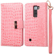 Crocodile Embossed Leather Wallet Case for LG K7 / K8 / Escape 3 / Treasure LTE / Tribute 5 - Pink