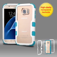 TUFF Vivid Hybrid Armor Case for Samsung Galaxy S7 - White Teal