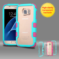 TUFF Vivid Hybrid Armor Case for Samsung Galaxy S7 - Teal Hot Pink