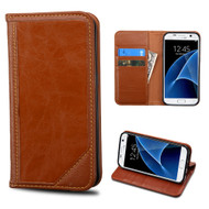 Mybat Genuine Leather Wallet Case for Samsung Galaxy S7 - Brown