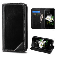 Mybat Genuine Leather Wallet Case for LG K7 / K8 / Escape 3 / Treasure LTE / Tribute 5 - Black