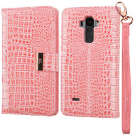 Crocodile Embossed Leather Wallet Case for LG G Stylo / Vista 2 - Pink