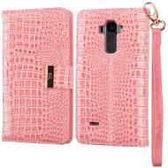 Crocodile Embossed Leather Wallet Case for LG G Stylo / Vista 2 - Pink