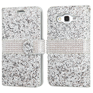 Round Brilliant Diamond Leather Wallet Case for Samsung Galaxy Grand Prime - Silver