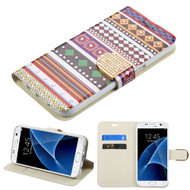 Art Design Portfolio Leather Wallet for Samsung Galaxy S7 - Ethnic Customs