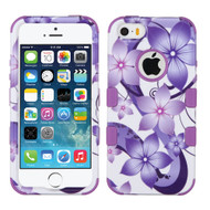 Military Grade TUFF Image Hybrid Case for iPhone SE / 5S / 5 - Hibiscus Flower Romance Purple