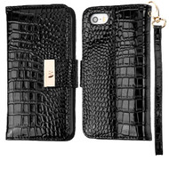 Crocodile Embossed Leather Wallet Case for iPhone SE / 5S / 5 - Black
