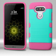Military Grade Certified TUFF Trooper Dual Layer Hybrid Armor Case for LG G5 - Brushed Teal Hot Pink