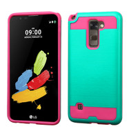 Brushed Hybrid Armor Case for LG G Stylo 2 / Stylus 2 - Teal Hot Pink