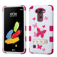 Military Grade Certified TUFF Image Hybrid Armor Case with Stand for LG G Stylo 2 / Stylus 2 - Butterfly Dancing