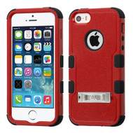 Military Grade TUFF Hybrid Kickstand Case for iPhone SE / 5S / 5 - Red