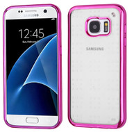 SPOTS Electroplated Premium Candy Skin Cover for Samsung Galaxy S7 - Hot Pink