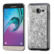 Desire Bling Bling Crystal Cover for Samsung Galaxy Amp Prime / Express Prime / J3 / Sol - Rhinestones Silver