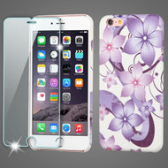 Mod Leather Graphic Case and Tempered Glass Screen Protector for iPhone 6 Plus / 6S Plus - Purple Hibiscus Flower