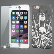 Mod Leather Graphic Case and Tempered Glass Screen Protector for iPhone 6 Plus / 6S Plus - Sword and Skull