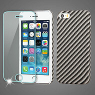 Mod Leather Graphic Case and Tempered Glass Screen Protector for iPhone SE / 5S / 5 - Carbon Fiber