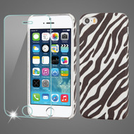 Mod Leather Graphic Case and Tempered Glass Screen Protector for iPhone SE / 5S / 5 - Zebra