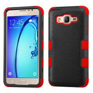 Military Grade Certified TUFF Hybrid Armor Case for Samsung Galaxy On5 - Black Red