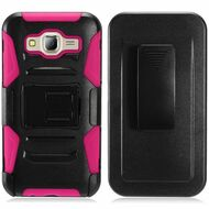 *Sale* Advanced Armor Hybrid Kickstand Case with Holster for Samsung Galaxy On5 - Black Hot Pink
