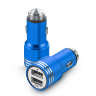 Dual USB Metal Alloy Car Charger Adapter with Emergency Safety Hammer Function - Blue