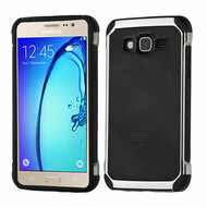 *Sale* Chrome Tough Anti-Shock Hybrid Case with Leather Backing for Samsung Galaxy On5 - Black