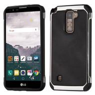 Chrome Tough Anti-Shock Hybrid Case with Leather Backing for LG Stylo 2 Plus - Black