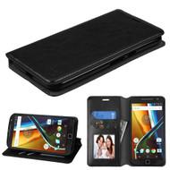 Book-Style Leather Folio Case for Motorola Moto G4 / G4 Plus - Black