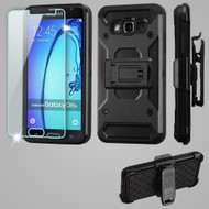 3-IN-1 Kinetic Hybrid Armor Case with Holster and Tempered Glass Screen Protector for Samsung Galaxy On5 - Black