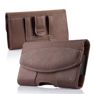 *SALE* Premium Lateral Leather Pouch Case - Brown