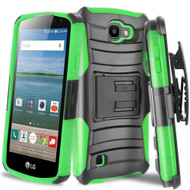 *SALE* Advanced Armor Hybrid Kickstand Case with Holster for LG K3 - Black Green