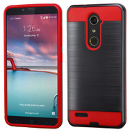 Brushed Hybrid Armor Case for ZTE Zmax Pro / Grand X Max 2 / Imperial Max / Max Duo 4G - Black Red