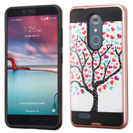 Brushed Hybrid Armor Case for ZTE Zmax Pro / Grand X Max 2 / Imperial Max / Max Duo 4G - Love Tree