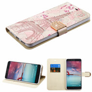 Art Design Portfolio Leather Wallet for ZTE Zmax Pro / Grand X Max 2 / Imperial Max / Max Duo 4G - Eiffel Tower