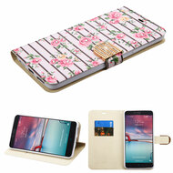 Art Design Portfolio Leather Wallet for ZTE Zmax Pro / Grand X Max 2 / Imperial Max / Max Duo 4G - Fresh Roses