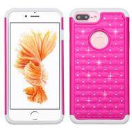 TotalDefense Diamond Hybrid Case for iPhone 8 Plus / 7 Plus - Hot Pink White