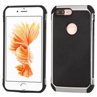 Chrome Tough Anti-Shock Hybrid Case with Leather Backing for iPhone 8 Plus / 7 Plus - Black
