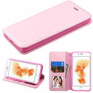Book-Style Leather Folio Case for iPhone 8 Plus / 7 Plus - Pink
