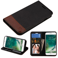 Premium Leather Wallet Book Case for iPhone 8 / 7 - Black Brown