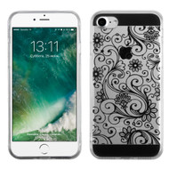 Floral Rubberized Crystal Case for iPhone 8 / 7 - Black