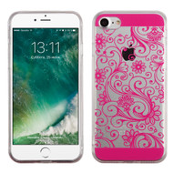 Floral Rubberized Crystal Case for iPhone 8 / 7 - Hot Pink