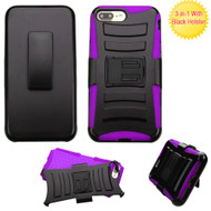 Advanced Armor Hybrid Kickstand Case with Holster for iPhone 8 Plus / 7 Plus - Black Purple