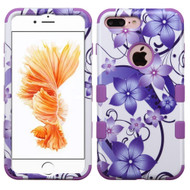 *SALE* Military Grade TUFF Image Hybrid Armor Case for iPhone 8 Plus / 7 Plus - Purple Hibiscus Flower Romance