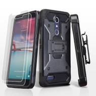 3-IN-1 Kinetic Hybrid Armor Case with Holster for ZTE Zmax Pro / Grand X Max 2 / Imperial Max / Max Duo 4G - Black