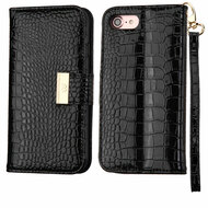 Crocodile Embossed Leather Wallet Case for iPhone 8 / 7 - Black